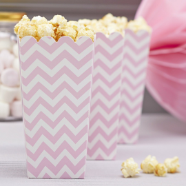Cornets pop corn chevrons roses - Lot de 8