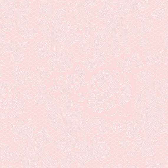 Serviettes papier dentelle rose nacré- Lot de 15