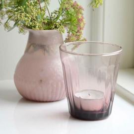 Photophore verre rétro lilas