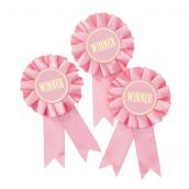 Rosettes winner ruban rose - Lot de 6