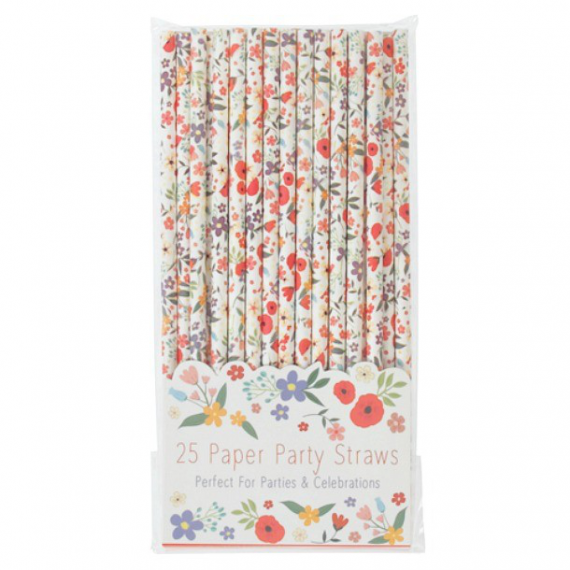 Pailles papier Happy flowers - Lot de 25