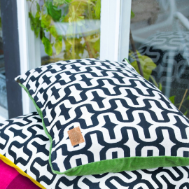 Coussin B&W dos velours green