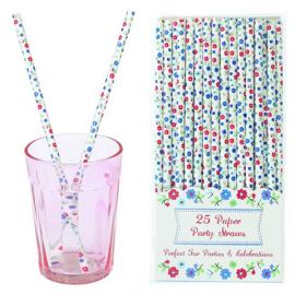 Pailles papier fleuries myosotis - Lot de 25