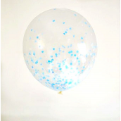 Ballons confettis mix bleu - Lot de 6