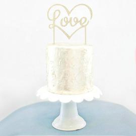 Cake topper Love silver glitter