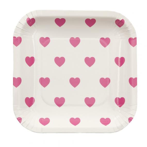 Assiettes carrées semi coeurs rose