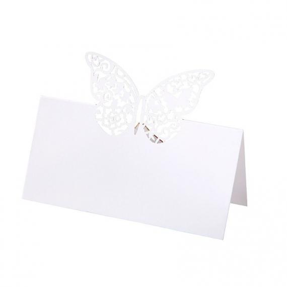 Marque-place chevalet papillon dentelle