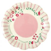 Assiettes feston dentelle et fleurs roses