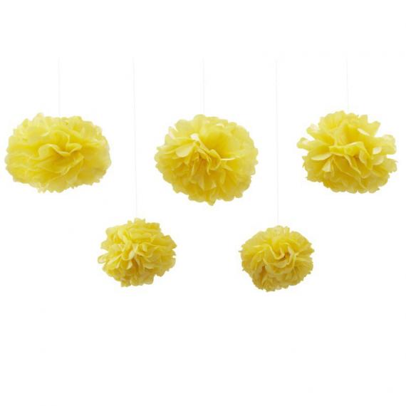 Assortiment pompoms jaune