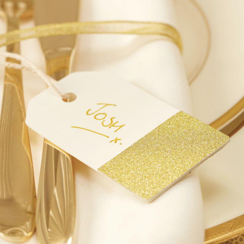 deco mariage tiquettes marque place blanc cass paillettes or. Black Bedroom Furniture Sets. Home Design Ideas