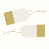 Etiquettes marque-place blanc cassé paillettes or