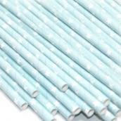 Pailles papier bleu étoiles blanches - Lot de 24