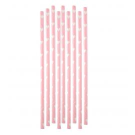 Pailles papier rose coeur blanc - Lot de 20