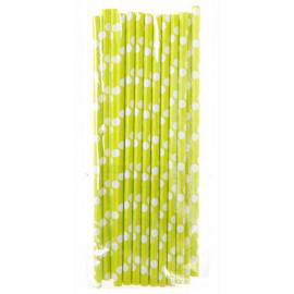 Pailles papier vert granny pois blancs