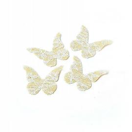 Papillons jute et dentelle - Lot de 24