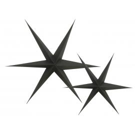 Etoiles carton 3D noires - Lot de 2