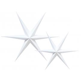 Etoiles carton 3D blanches - Lot de 2