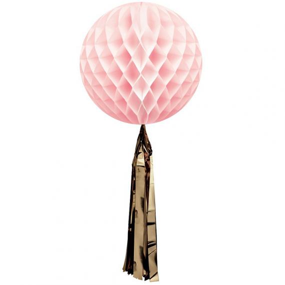 Boule papier alvéolée rose tassel or