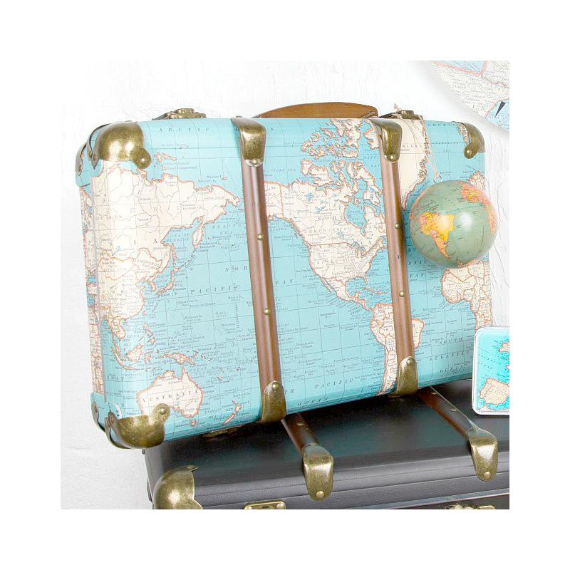 accessoire valise carte du monde vintage. Black Bedroom Furniture Sets. Home Design Ideas