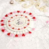 Epingles nacrées coeur rose rouge