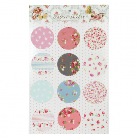 Stickers ronds imprimés fleurettes - Lot de 12