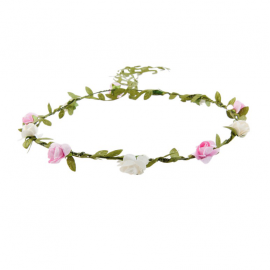 Couronne feuillage et fleurettes blanches et roses