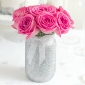 Pot bocal style Mason jar paillettes argent