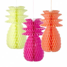 Ananas papier fluo mix - Lot de 3