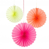Eventails papier fluo mix - Lot de 3