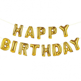 Guirlande lettres ballons or Happy birthday