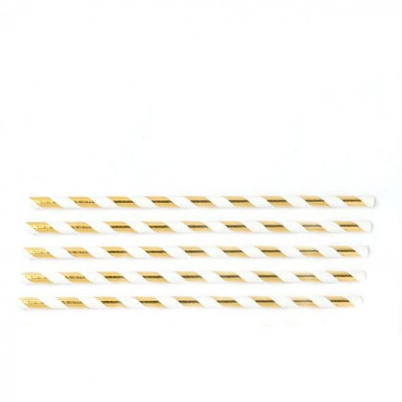 Pailles papier rayures dorées - Lot de 24