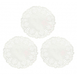 Napperons papier dentelle blanc - Lot de 10