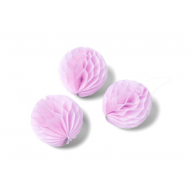 Boules papier alvéolé roses 6 cm - Lot de 10