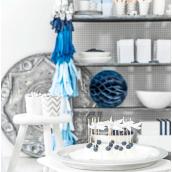 Guirlande de tassel bleus, blanc et argent