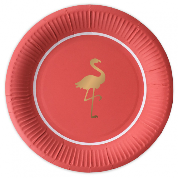 Assiettes flamant rose gold