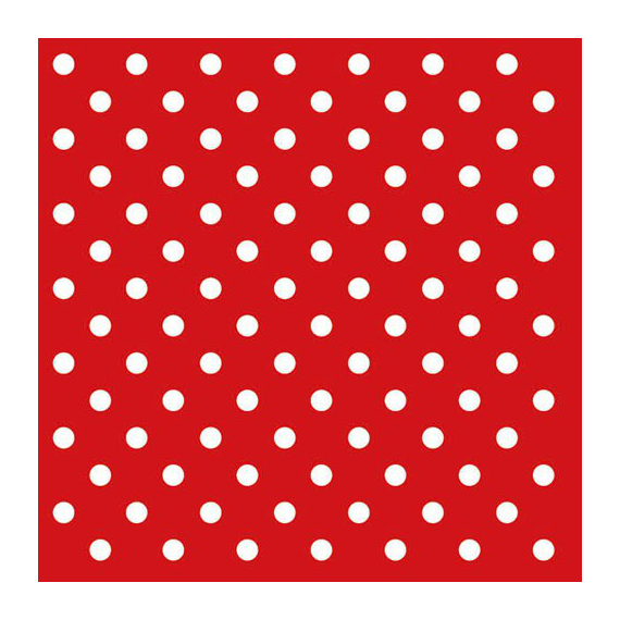 Serviettes papier rouge pois blancs - Lot de 20