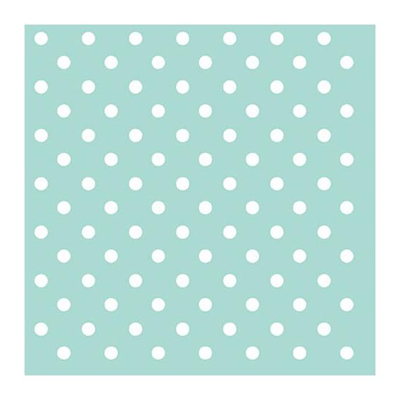 Serviettes papier aqua pois blancs - Lot de 20