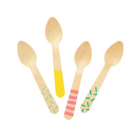 Cuillères bois décor ice cream - Lot de 24