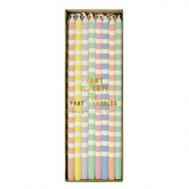 Bougies anniversaire multi pastel rayures - 24