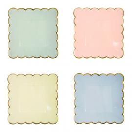 Assiettes gâteaux carrées pastel feston or