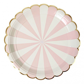 Assiettes rayures roses feston or