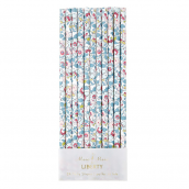 Pailles papier liberty blue betsy - Lot de 24