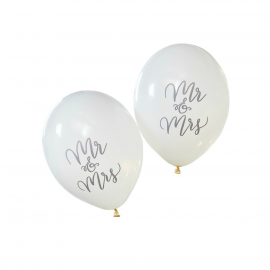 Ballons calligraphie Mr & Mrs - Lot de 10