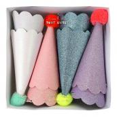 Chapeaux pointus paillettes mix colors - Lot de 8