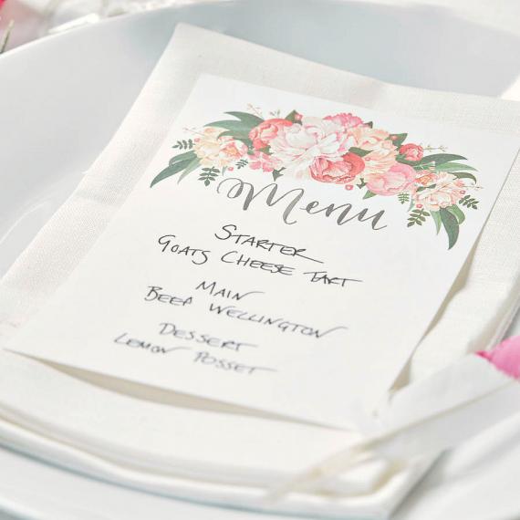 Unique décoration mariage menu floral bohème EW86