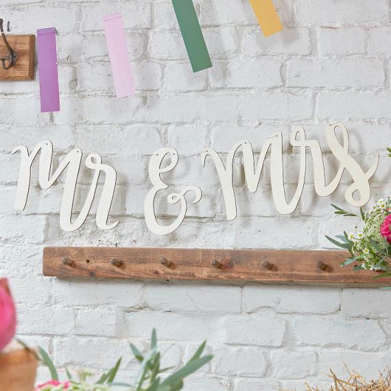 Guirlande calligraphie Bois Mr & Mrs