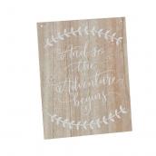 Panneau bois patiné calligraphie adventure