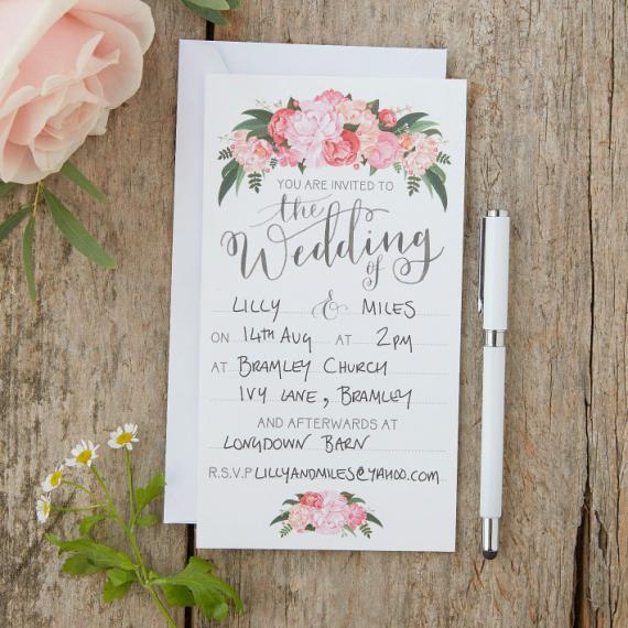Invitations mariage floral bohème