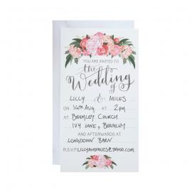 Invitations mariage floral bohème - Lot de 10