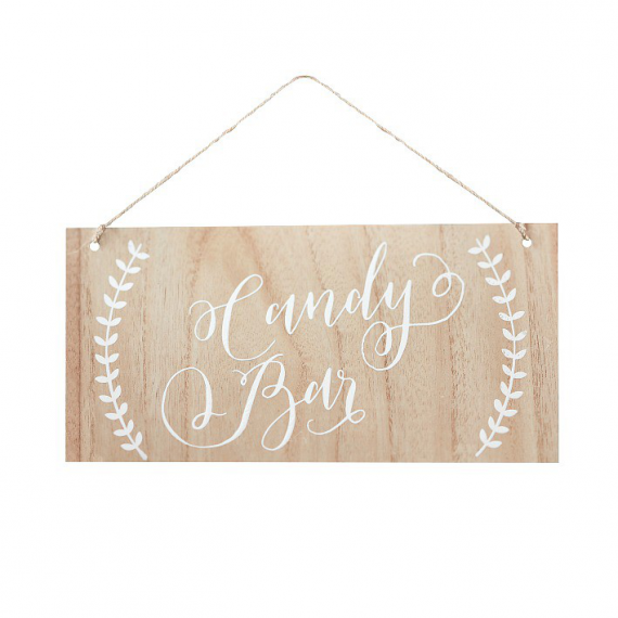 Pancarte bois patiné calligraphie Candy bar